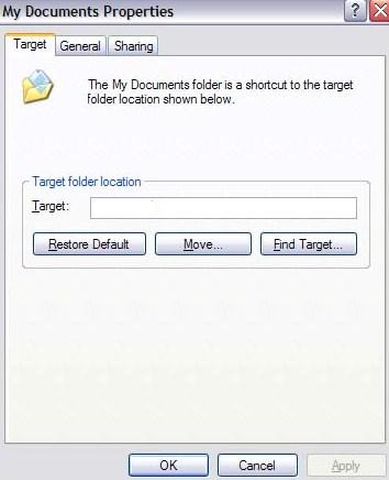 Change my documents folder default location path in for Move my documents xp