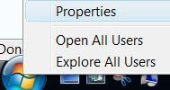 Open Start Menu Properties