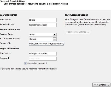 iphone how to add hotmail account