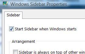 Start Sidebar when Windows Starts