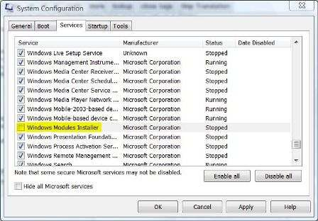 Stop Running Windows Module Installer in Windows