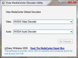 Vista Media Center MPEG2 Decoder Selection Utility
