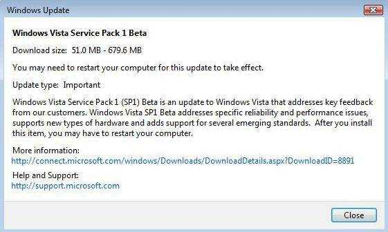 Details of Windows Vista SP1 Beta