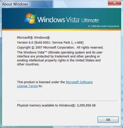About Windows Vista SP1 v.668