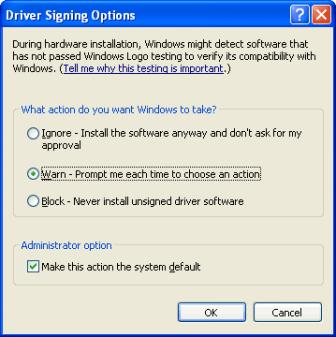 Driver Signing Options