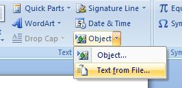 Insert Text from File in Office Word