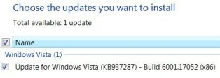 Updates before installing Windows Vista SP1 RC1
