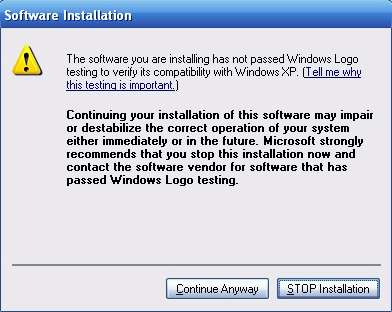 Unsigned Software Installation Warning Dialog