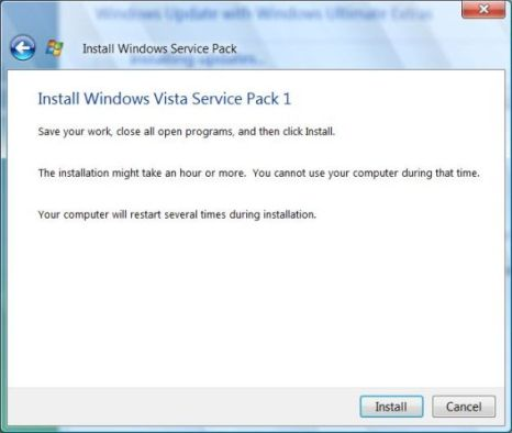 Confirm Windows Vista SP1 installation