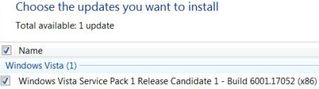 Windows Vista Service Pack 1 Release Candidate 1