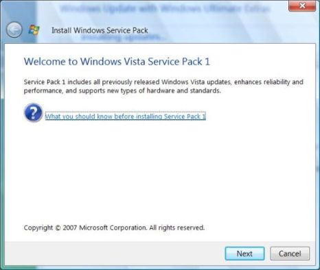 Install Windows Vista Service Pack 1