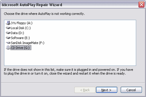 Autoplay Repair Wizard
