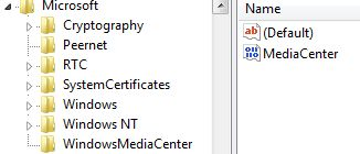 Registry Setting to Disable Windows Medic Center (MCE)