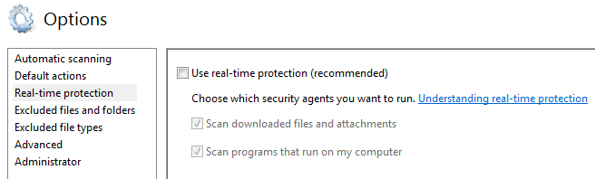 Disable Windows Defender Real Time Protection