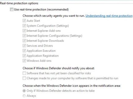 Disable Windows Defender in Windows Vista