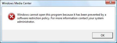Windows Media Center Blocked by Group Policy