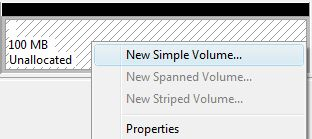Create New Simple Volume