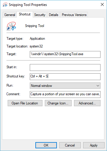 Assign Shortcut Key to Snipping Tool