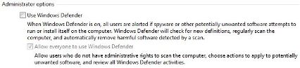 Uninstall Windows Defender in Windows Vista