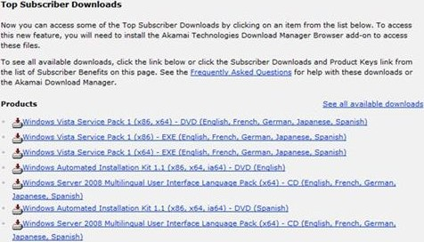 Windows Vista SP1 Downloads from Technet Plus and MSDN