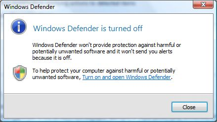 Windows Defender is Turned Off