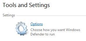 Options of Windows Defender