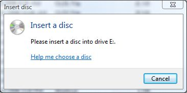 Windows Optical Drive Insert Disc