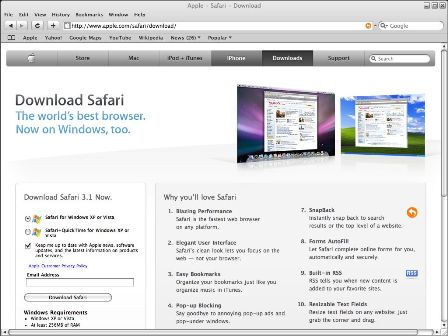 Apple Safari 3.1 Browser for Windows Final Free Download ...