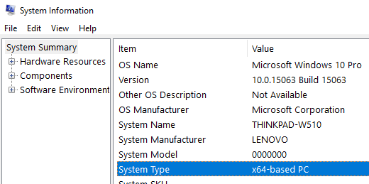 Windows x86 or x64 System Type