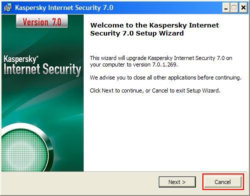 Cancel Kaspersky Installation