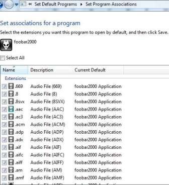 File Type Associations for foobar2000 in Default Programs