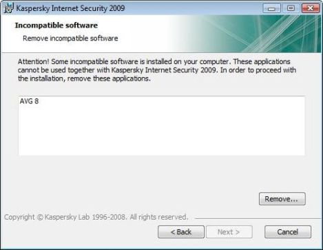 Incompatible Software Error When Installing Kaspersky