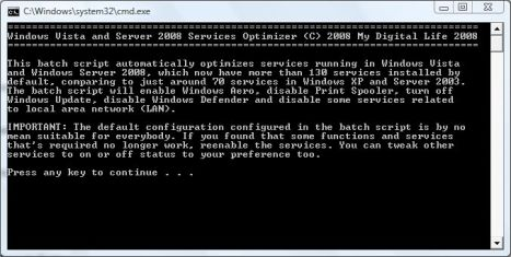 Windows Vista and Server 2008 Services Optimizer