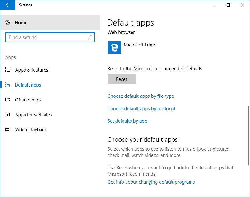 Choose Default Apps in Windows 10 Settings