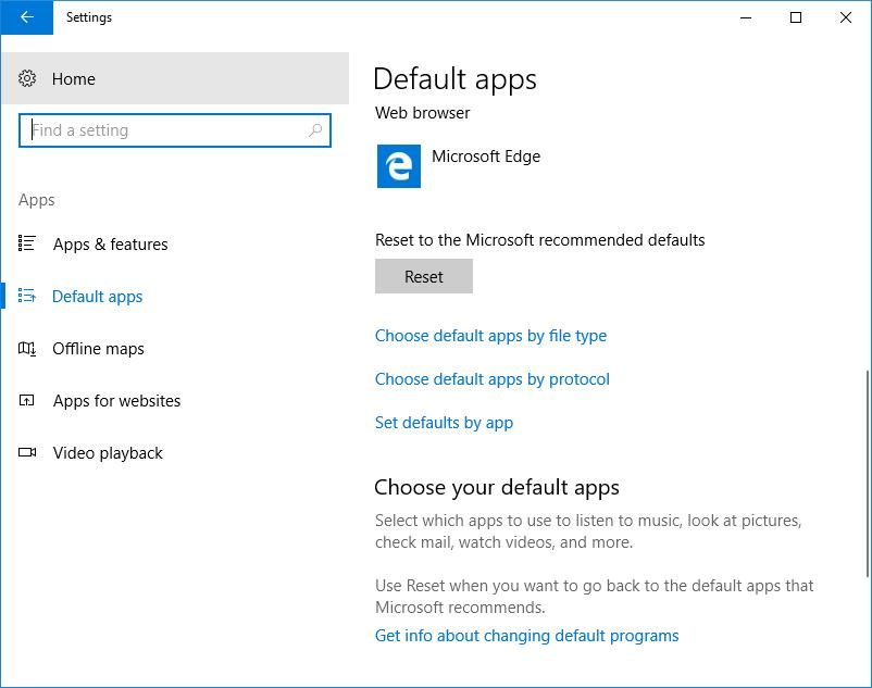 Choose Default Apps in Windows 10 Settings