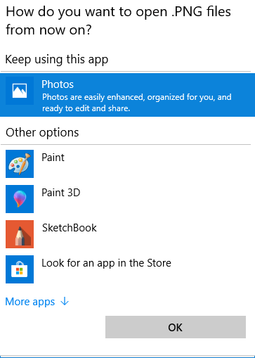 Change Default App in Windows 10