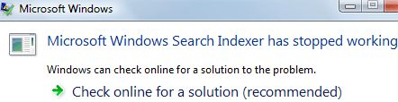 Windows Search Indexer Has Stopped Working