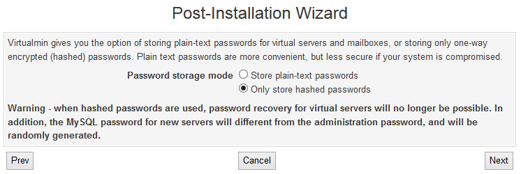 Virtualmin Store Plain or Hashed Passwords