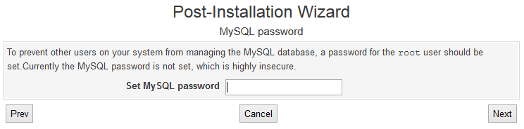 Setting MySQL Root Password in Virtualmin Wizard