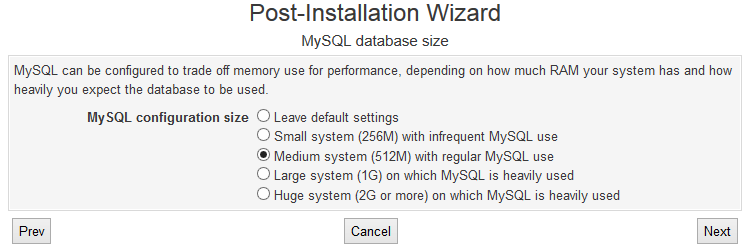 Virtualmin MySQL Database Size