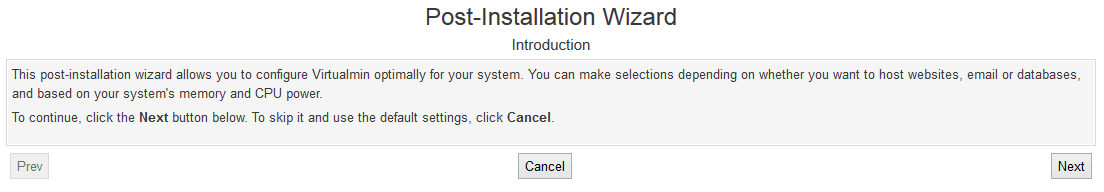 Virtualmin Post Installation Wizard