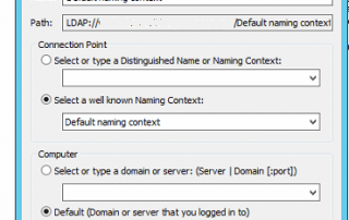 ADSI Edit Connect to Default Naming Context