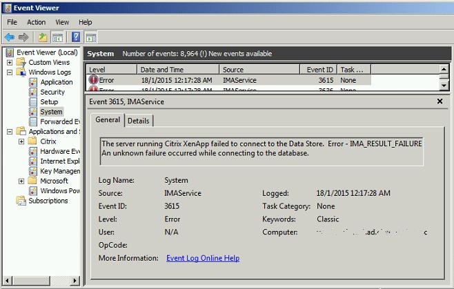 Citrix Event ID 3615