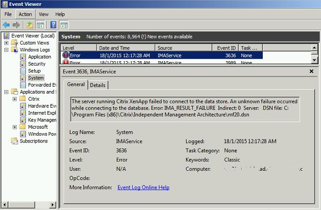 Citrix XenApp Event ID 3636