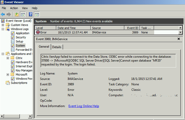 Citrix XenApp Event ID 3989