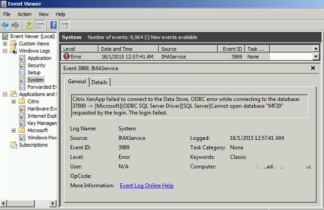 Citrix XenApp Event ID 3989