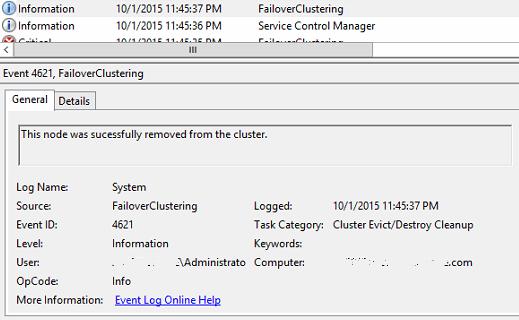 Clear-ClusterNode Event Log