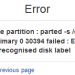 Unrecognised Disk Label When Creating Partition
