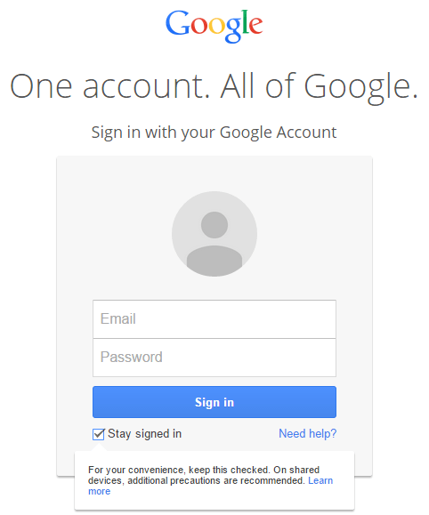 Google Stay Signed In