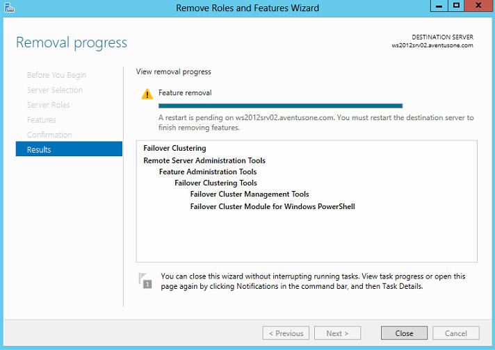Remove Failover Clustering Feature